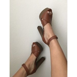 Stacked Platform Heels Brown Size 7.5
